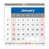 Calendar Planner for 2017 Year. Design Template with Place for Photos and Notes. January. Week Starts Sunday vector. Art Royalty Free Stock Photography