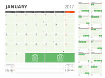 Calendar Planner for 2017 Year Royalty Free Stock Photo