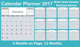 Calendar Planner for 2017 Year. 3 Months on Page. Week Starts Monday Stock Photography