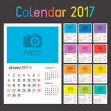 Calendar Planner for 2017. Year. Set of 12 Months. Week Starts Sunday Royalty Free Stock Image