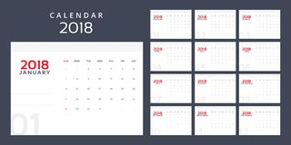 Calendar planner for 2018 year royalty free illustration