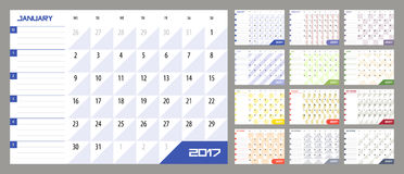 Calendar Planner for 2017 Year. Vector design template with place for notes. Week starts Monday. A4. Horizontal orientation Stock Photos