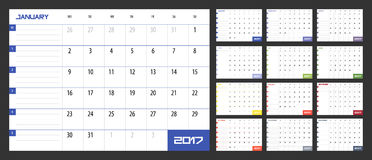 Calendar Planner for 2017 Year. Vector design template with place for notes. Week starts Monday. A4. Horizontal orientation royalty free illustration
