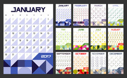 Calendar Planner for 2017. Year. Vector design template with place for notes. Week starts Monday. A4. Vertical  orientation Royalty Free Stock Image