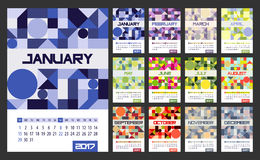 Calendar Planner for 2017 Year. Vector design template with place for notes. Week starts Sunday. A4. Vertical orientation vector illustration