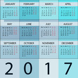 Calendar Planner 2017 Year. Vector 12 Months Week starts with Monday Stock Photo