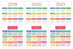 2019 calendar planning. English planner. Сolor vector template. Week starts on Sunday Stock Photography