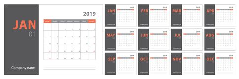 2019 calendar planning. English planner. Сolor vector template. Week starts on Sunday Royalty Free Stock Photo