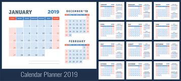 2019 calendar planning. Planner. Blue color template. Week start. S on Sunday Royalty Free Stock Photos