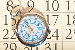 Calendar pocket watch  old grandfather Royalty Free Stock Images