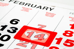 Calendar pointed on St.Valentines day Royalty Free Stock Photography