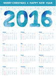 Calendar 2016.Polygon blue numbers,snowflakes. Calendar 2016 with Polygon blue numbers and snowflakes.Modern triangle style.Sign of seasons,symbol,icon.New year Stock Images
