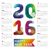 Calendar 2016.Polygon numbers,rainbow colors. Calendar 2016 with Polygon numbers,rainbow colors.Modern triangle style.Sign of seasons,symbol,icon .New year Royalty Free Stock Images
