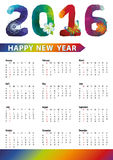 Calendar 2016.Polygon numbers,rainbow colors. Calendar 2016 with Polygon numbers,rainbow colors.Modern triangle style.Sign of seasons,symbol,icon .New year Stock Photo