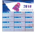 Calendar for 2018 With Polygon Rooster Stock Image