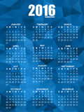Calendar for 2016 on polygonal background. Simple vector design template stock illustration