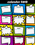 2018 calendar pop art template stock photo