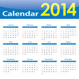 Calendar 2014 popular template on isolated background Stock Image