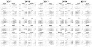 Calendar por o ano 2011, 2012, 2013, 2014, 2015 Foto de Stock Royalty Free