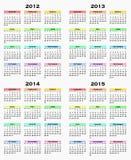 Calendar por os anos 2012 - 2015 Foto de Stock
