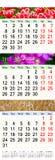 Calendar por três meses 2017 com imagens da natureza Imagem de Stock Royalty Free