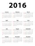 Calendar 2016 Portrait. Calendar of 2016 isolated on white background Royalty Free Illustration