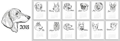 Calendar for 2018 with portraits of dogs of different breeds. Graphical vector illustration Royalty Free Stock Photography