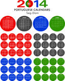 Calendar 2014 Portuguese. Royalty Free Stock Photo