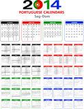 Calendar 2014 Portuguese. Royalty Free Stock Photos