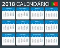 Calendar 2018 - Portuguese version Stock Image