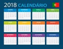 Calendar 2018 - Portuguese Version Stock Photo