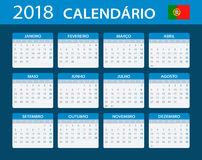 Calendar 2018 - Portuguese Version. Illustration Royalty Free Stock Photo