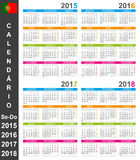 Calendar 2015-2018 Royalty Free Stock Photography