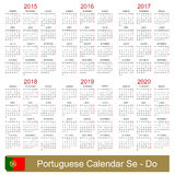 Calendar 2015-2020. Portuguese calendar for years 2015-2020, week starts on Monday Royalty Free Stock Photo