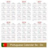 Calendar 2015-2020. Portuguese calendar for years 2015-2020, week starts on Monday Royalty Free Illustration