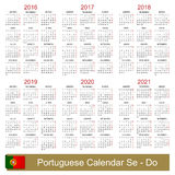 Calendar 2016-2021. Portuguese calendar for years 2016-2021, week starts on Monday Stock Photo