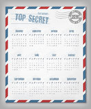 Calendar with postal envelope on 2016 vector Royalty Free Stock Image