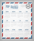 Calendar with postal envelope on 2015 vector Stock Images