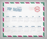 Calendar with postal envelope on 2015 vector Royalty Free Stock Images