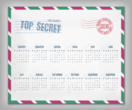 Calendar with postal envelope on 2016 vector Stock Image