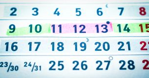 Calendar, pregnancy planning, dangerous and safe days. Close up stock image