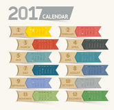 Calendar 2017 print template design ribbon paper style. Vector illustrations royalty free illustration
