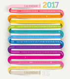 Calendar 2017 print template design ribbon style. Vector illustrations vector illustration