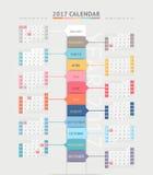 Calendar 2017 print template design. Vector illustrations Stock Image