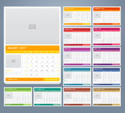 Calendar 2017 print template design. Vector Royalty Free Stock Images