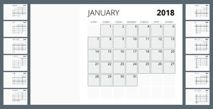 2018 calendar. Print Template. Week Starts Sunday. Portrait Orientation. Set of 12 Months. Planner for 2018 Year. Stock Image