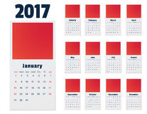 Calendar, Print Template. Week Starts Sunday. Portrait Orientation. Set of 12 Months. Calendar for 2017 Year on white Background. Week Starts Monday. Simple Stock Photos