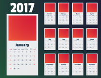 Calendar, Print Template. Week Starts Sunday. Portrait Orientation. Set of 12 Months. Calendar for 2017 Year on white Background. Week Starts Monday. Simple Stock Illustration