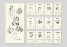 Calendar with purebred dog sketches. Calendar with dog breed sketches for year 2018 Royalty Free Stock Photos