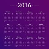 Calendar for 2016 on purple background. Vector Stock Images